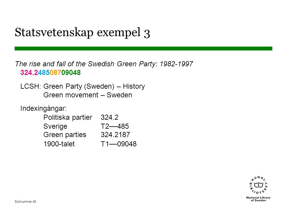 Sidnummer 40 Statsvetenskap exempel 3 The rise and fall of the Swedish Green Party: 1982-1997 324.248508709048 LCSH: Green Party (Sweden) – History Gr