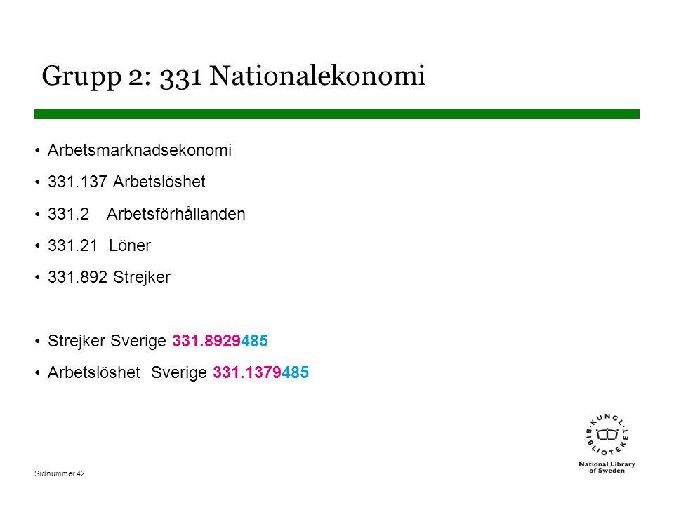 Sidnummer 42 Grupp 2: 331 Nationalekonomi Arbetsmarknadsekonomi 331.137 Arbetslöshet 331.2 Arbetsförhållanden 331.21 Löner 331.892 Strejker Strejker Sverige 331.8929485 Arbetslöshet Sverige 331.1379485
