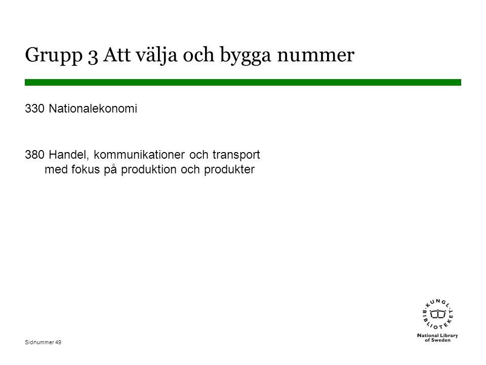 Sidnummer 49 Grupp 3 Att välja och bygga nummer 330 Nationalekonomi 380 Handel, kommunikationer och transport med fokus på produktion och produkter