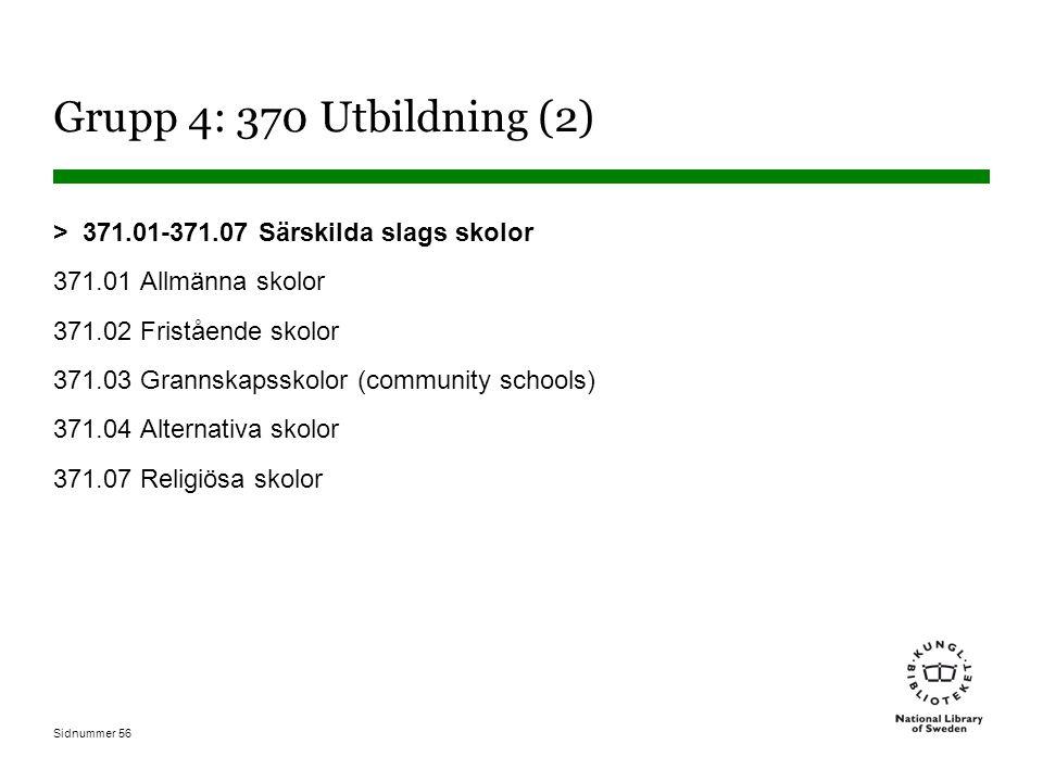 Sidnummer 56 Grupp 4: 370 Utbildning (2) > 371.01-371.07 Särskilda slags skolor 371.01 Allmänna skolor 371.02 Fristående skolor 371.03 Grannskapsskolor (community schools) 371.04 Alternativa skolor 371.07 Religiösa skolor