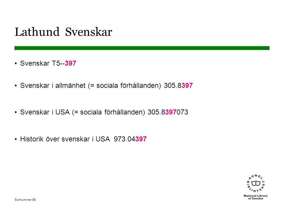 Sidnummer 66 Lathund Svenskar Svenskar T5--397 Svenskar i allmänhet (= sociala förhållanden) 305.8397 Svenskar i USA (= sociala förhållanden) 305.8397073 Historik över svenskar i USA 973.04397