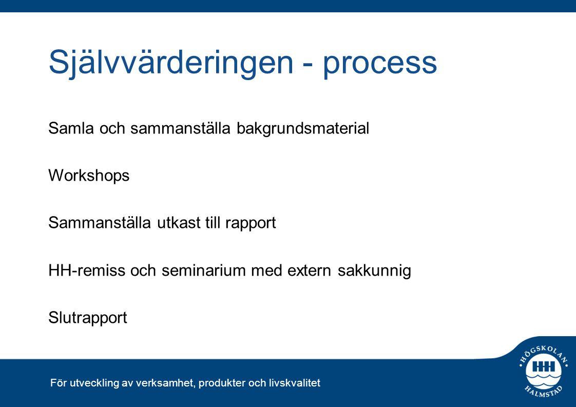 För utveckling av verksamhet, produkter och livskvalitet Självvärderingen - process Samla och sammanställa bakgrundsmaterial Workshops Sammanställa ut