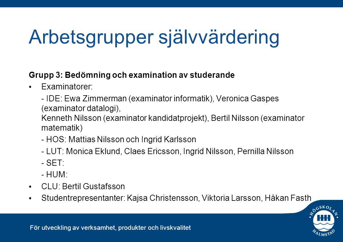 För utveckling av verksamhet, produkter och livskvalitet Arbetsgrupper självvärdering Grupp 3: Bedömning och examination av studerande Examinatorer: -
