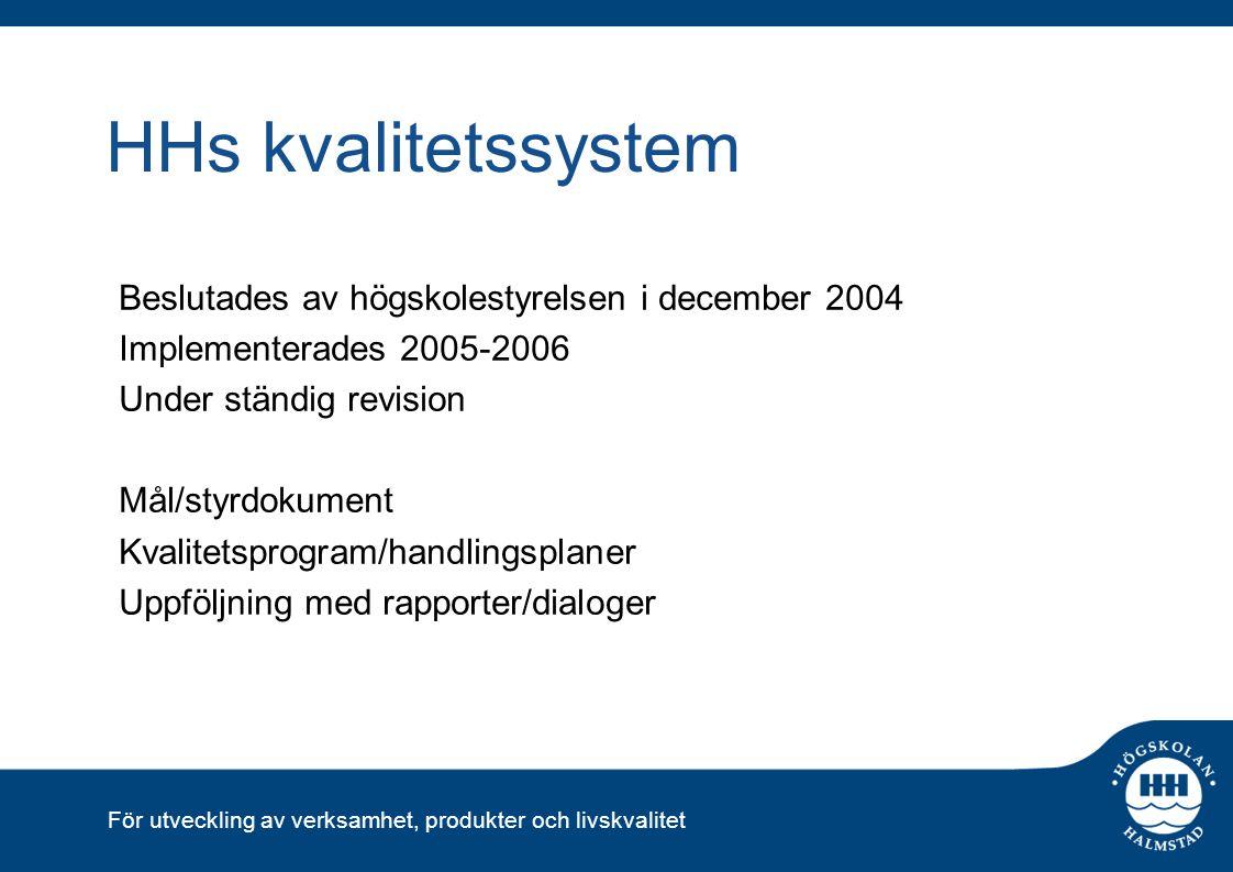 För utveckling av verksamhet, produkter och livskvalitet Tidsplan 18/2HSV:s uppstartsmöte 20/2Kvalitetskonferens: Internt avstämningsmöte med information från HSV 25/2 HH:s förslag på fördjupningsmiljöer lämnas till HSV 16/3 Besked från HSV om fördjupningsmiljöer 20/3Workshop grupp 4 23/3Workshop grupp 5 24/3Workshop grupp 1+2 1/4Workshop grupp 3 3/4Workshop grupp 6+7 April/maj Bedömarmöte 1 25/4 Förslag till självvärdering på remiss Vecka 19/20 Seminarium extern bedömningsgrupp 25/5Självvärderingen behandlas av kvalitetsrådet 8/6Självvärderingen inlämnad till HSV AugustiBedömarmöte 2 Sep-novProcess inför platsbesöket + platsbesök Sep-novPlatsbesök LöpandeProjektgruppsmöten/ordförandemöten Mars 2010Rapport HSV klar