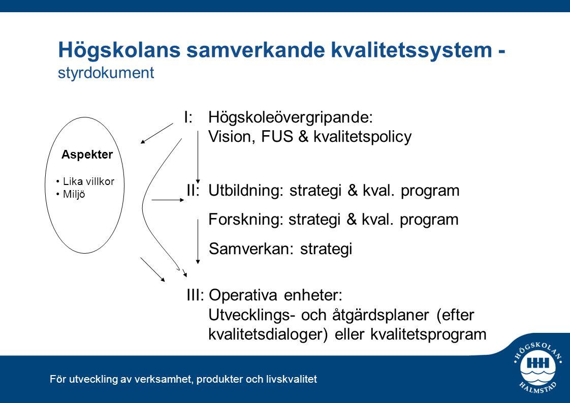 För utveckling av verksamhet, produkter och livskvalitet Högskolans samverkande kvalitetssystem - styrdokument I: Högskoleövergripande: Vision, FUS &