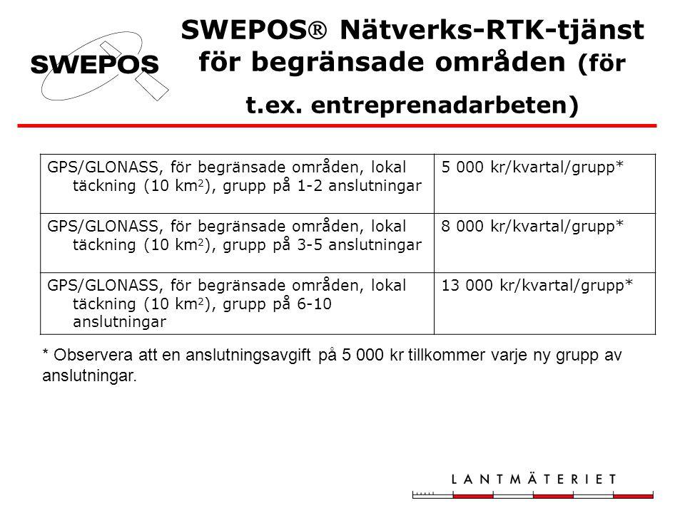 SWEPOS Nätverks-RTK-tjänst för begränsade områden (för t.ex. entreprenadarbeten) GPS/GLONASS, för begränsade områden, lokal täckning (10 km 2 ), grup