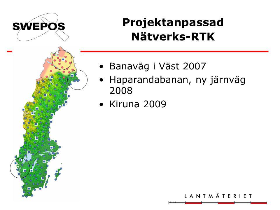 Projektanpassad Nätverks-RTK Banaväg i Väst 2007 Haparandabanan, ny järnväg 2008 Kiruna 2009