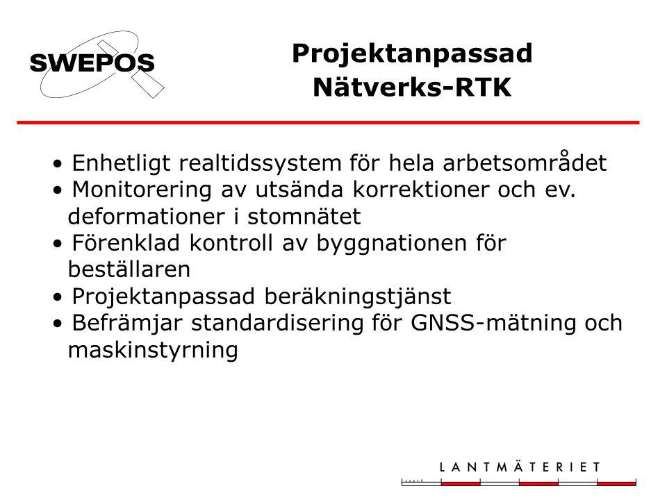 Vad har hänt Byte till bättre batteri –UPS-er på stationerna Säkrare datakommunikation Test av RTCM 3.1 för utsändning av nätverks-RTK korrektioner RINEX-data från virtuell referensstation, modul i nätverks- RTK programvaran Ny motor i Beräkningstjänsten Vad pågår CLOSE –projektet (augusti 2008 – februari 2009) - Hur bra kan RTK-mätning bli –studier av felkällor - Jämförelse med resultat från praktiskt erhållna testmätningar - Vilka åtgärder krävs för att förbättra noggrannheten i SWEPOS Näverks-RTK –tjänst