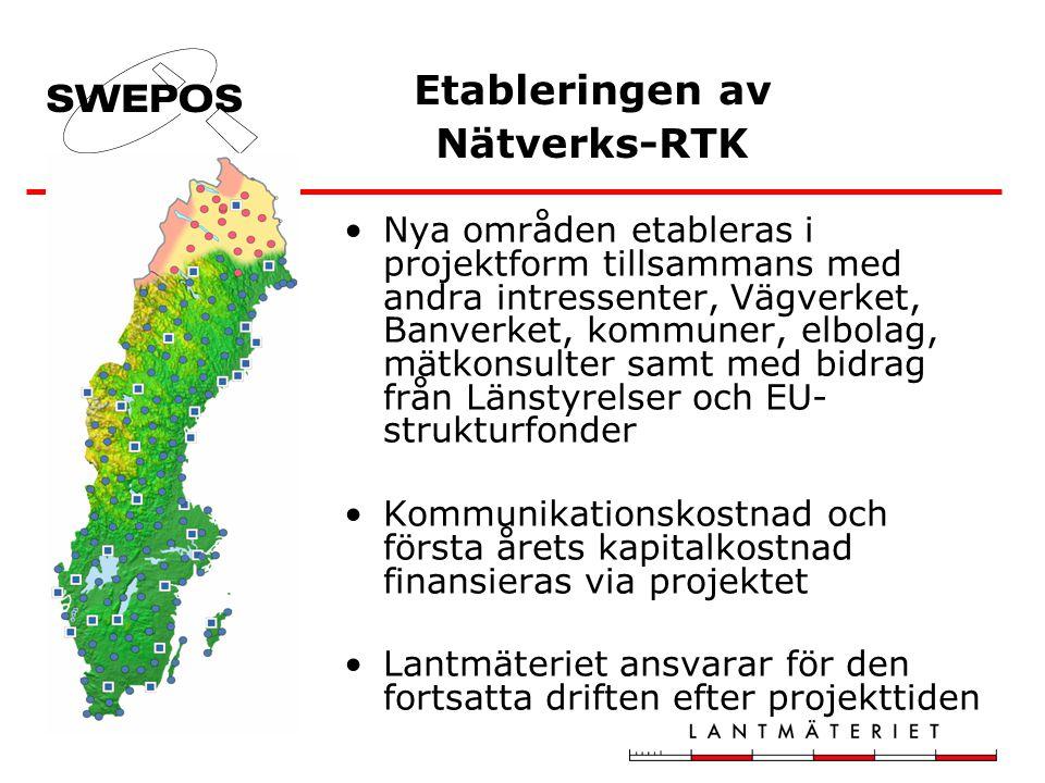 Etableringen av Nätverks-RTK Nya områden etableras i projektform tillsammans med andra intressenter, Vägverket, Banverket, kommuner, elbolag, mätkonsu
