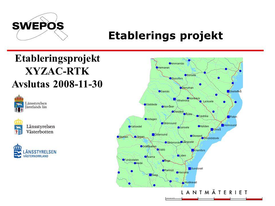 Etableringsprojekt XYZAC-RTK Avslutas 2008-11-30 Etablerings projekt