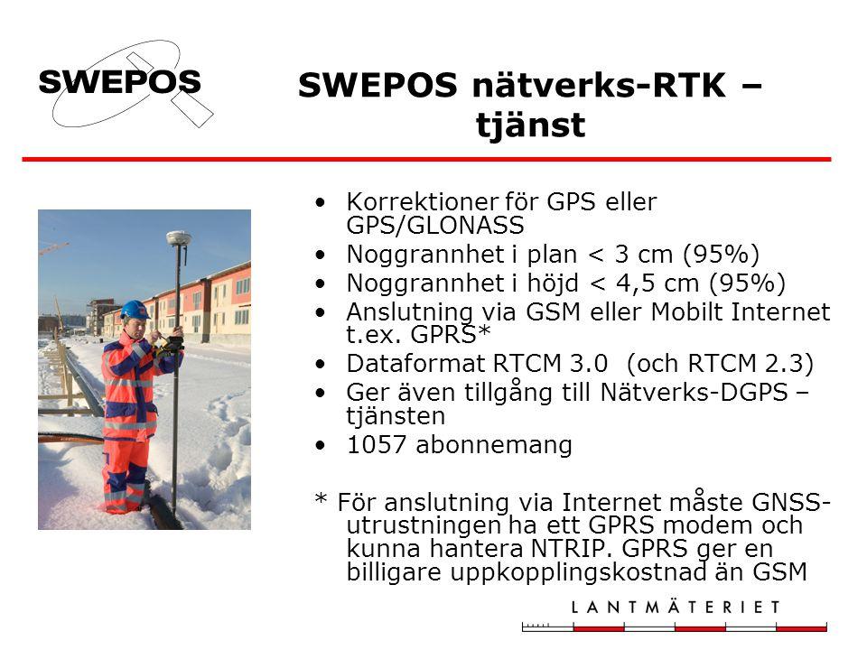 Korrektioner för GPS eller GPS/GLONASS Noggrannhet i plan < 3 cm (95%) Noggrannhet i höjd < 4,5 cm (95%) Anslutning via GSM eller Mobilt Internet t.ex