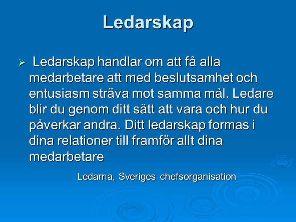 Ledarskap  Ledarskap handlar om att få alla medarbetare att med beslutsamhet och entusiasm sträva mot samma mål.