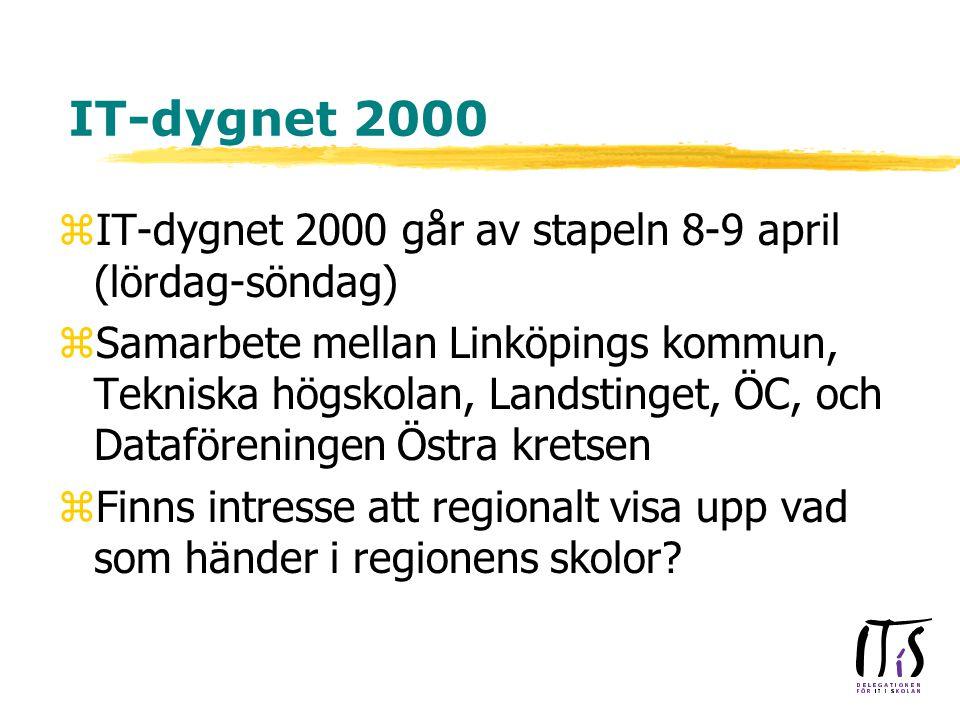 IT-dygnet 2000 zIT-dygnet 2000 går av stapeln 8-9 april (lördag-söndag) zSamarbete mellan Linköpings kommun, Tekniska högskolan, Landstinget, ÖC, och Dataföreningen Östra kretsen zFinns intresse att regionalt visa upp vad som händer i regionens skolor
