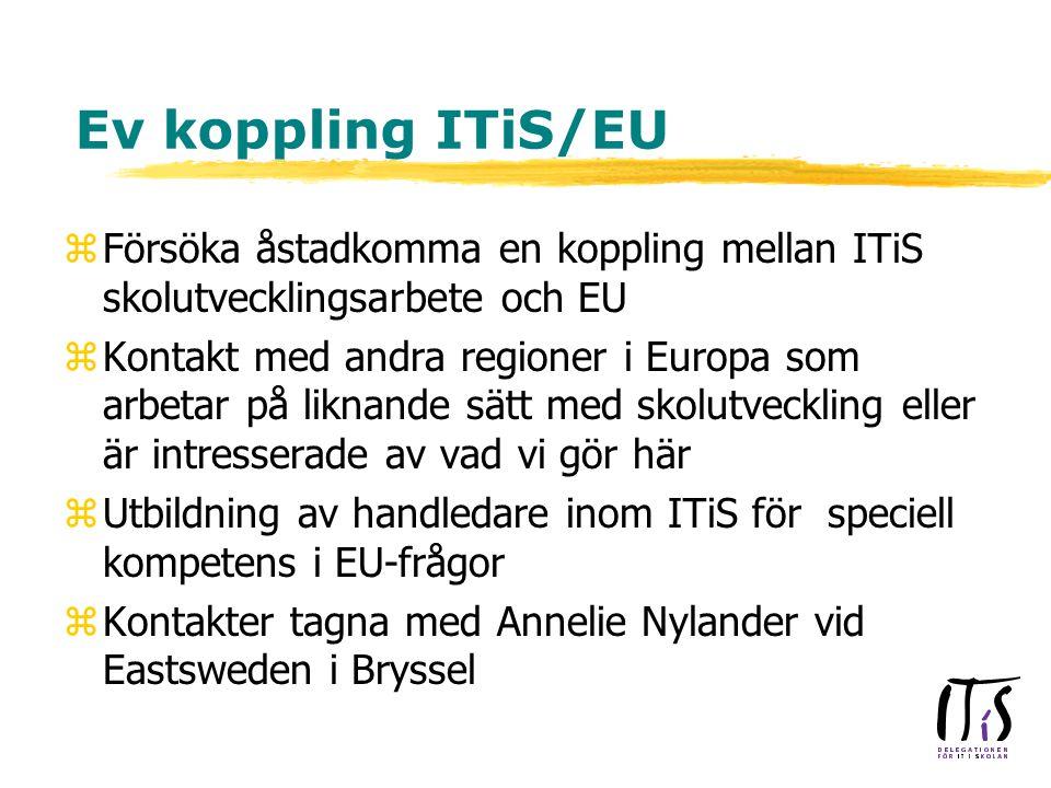 Ev koppling ITiS/EU zFörsöka åstadkomma en koppling mellan ITiS skolutvecklingsarbete och EU zKontakt med andra regioner i Europa som arbetar på liknande sätt med skolutveckling eller är intresserade av vad vi gör här zUtbildning av handledare inom ITiS för speciell kompetens i EU-frågor zKontakter tagna med Annelie Nylander vid Eastsweden i Bryssel