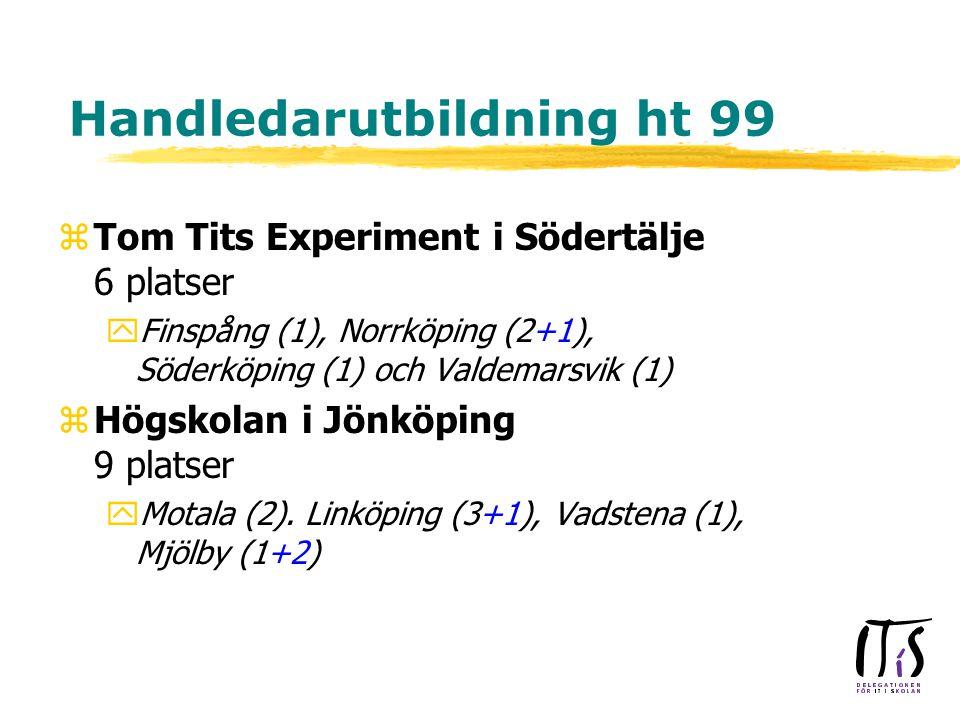 Handledarutbildning ht 99 zTom Tits Experiment i Södertälje 6 platser yFinspång (1), Norrköping (2+1), Söderköping (1) och Valdemarsvik (1) zHögskolan i Jönköping 9 platser yMotala (2).