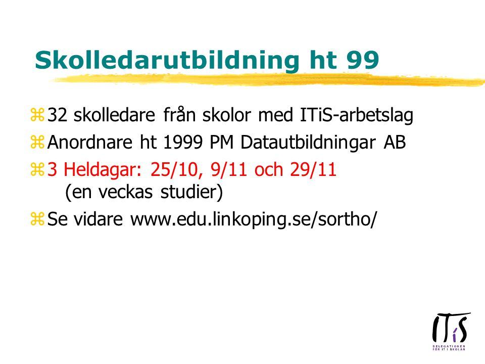 Skolledarutbildning ht 99 z32 skolledare från skolor med ITiS-arbetslag zAnordnare ht 1999 PM Datautbildningar AB z3 Heldagar: 25/10, 9/11 och 29/11 (en veckas studier) zSe vidare www.edu.linkoping.se/sortho/