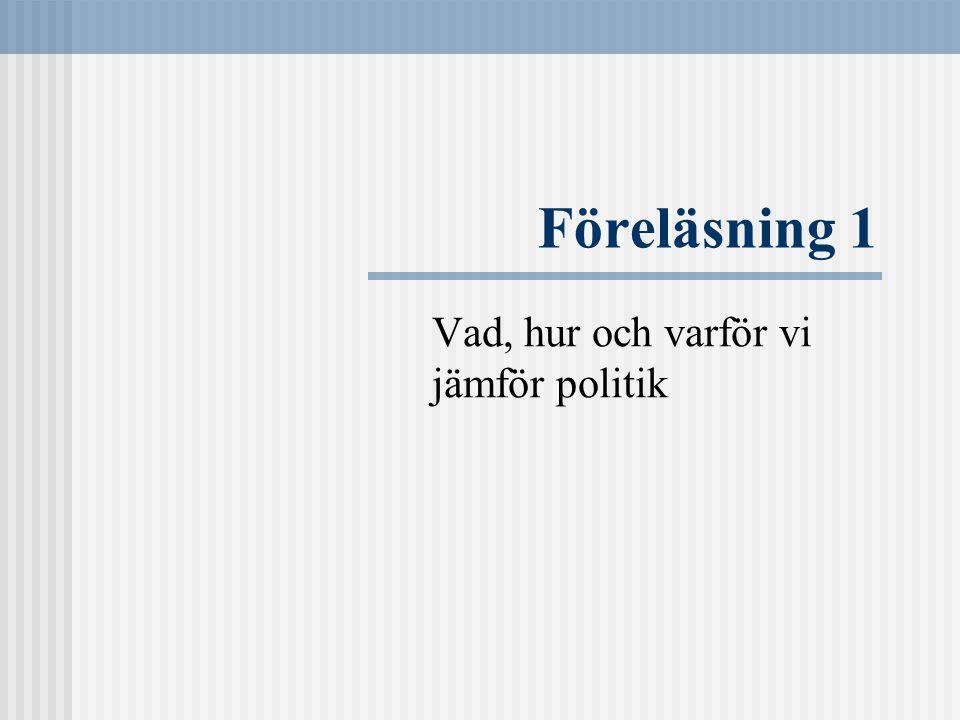 Litteratur Hague, R & Harrop, M, Comparative Government and Politics (6th ed.), Palgrave (Hampshire, 2004) Kapitel 1-3, 4 Lindahl, Rutger, Utländska Politiska System (11:e uppl.), SNS Förlag (Stockholm, 2004).