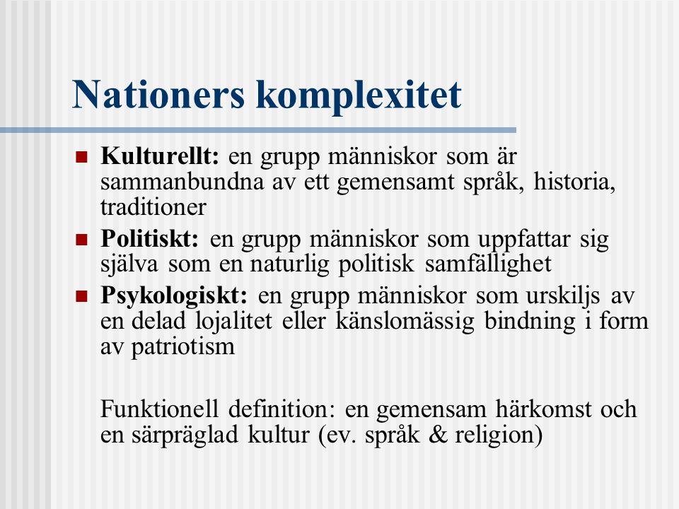 Nationers komplexitet Kulturellt: en grupp människor som är sammanbundna av ett gemensamt språk, historia, traditioner Politiskt: en grupp människor s
