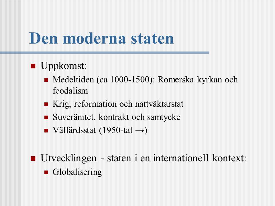 Den moderna staten Uppkomst: Medeltiden (ca 1000-1500): Romerska kyrkan och feodalism Krig, reformation och nattväktarstat Suveränitet, kontrakt och s