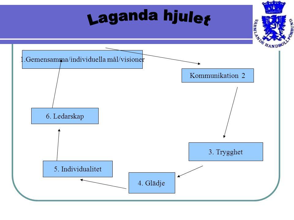 1.Gemensamma/individuella mål/visioner Kommunikation 2 3. Trygghet 4. Glädje 5. Individualitet 6. Ledarskap