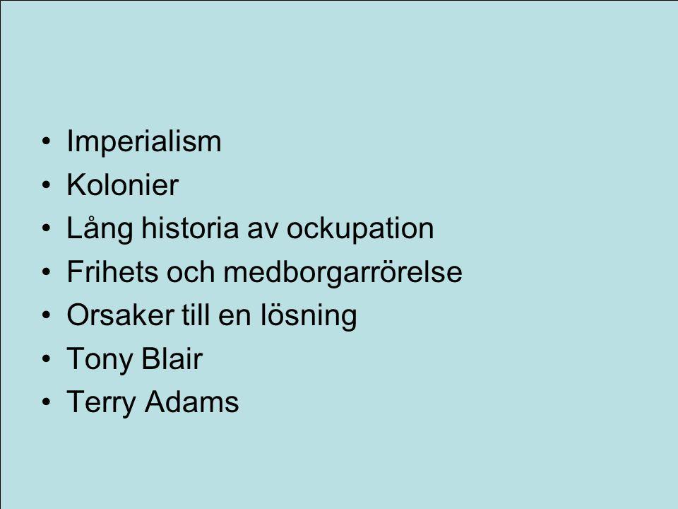 Systemnivå orsaker Imperialism Kolonier Lång historia av ockupation Frihets och medborgarrörelse Orsaker till en lösning Tony Blair Terry Adams