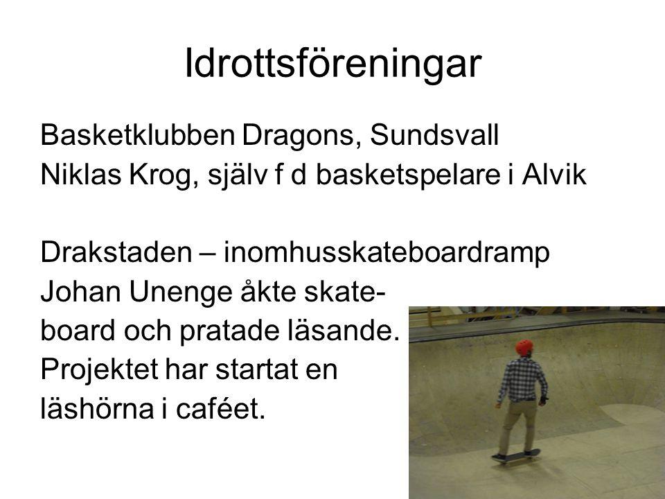Idrottsföreningar Basketklubben Dragons, Sundsvall Niklas Krog, själv f d basketspelare i Alvik Drakstaden – inomhusskateboardramp Johan Unenge åkte s