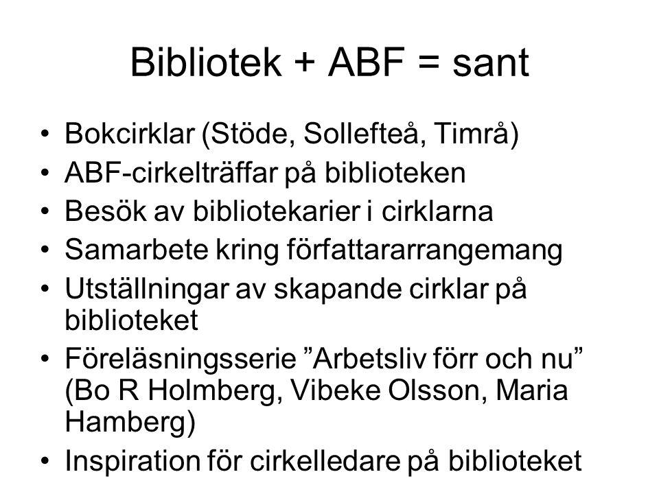 Bibliotek + ABF = sant Bokcirklar (Stöde, Sollefteå, Timrå) ABF-cirkelträffar på biblioteken Besök av bibliotekarier i cirklarna Samarbete kring förfa
