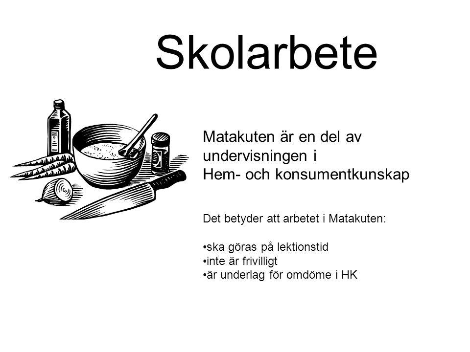 Skolarbete Matakuten är en del av undervisningen i Hem- och konsumentkunskap Det betyder att arbetet i Matakuten: ska göras på lektionstid inte är fri