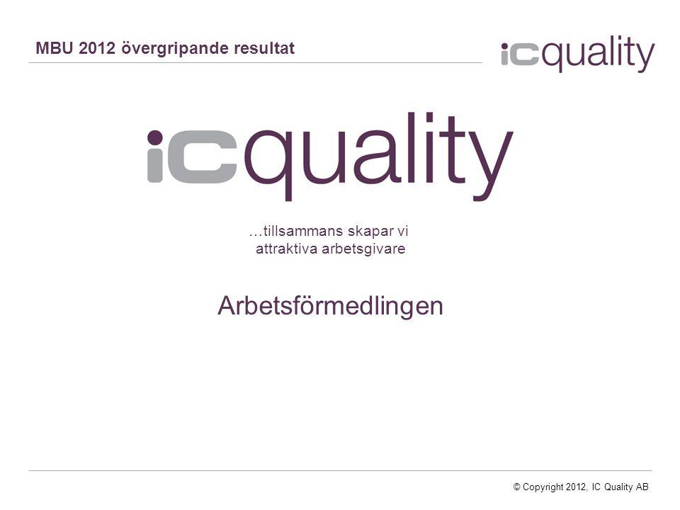 © Copyright 2013, IC Quality AB© Copyright 2012, IC Quality AB …tillsammans skapar vi attraktiva arbetsgivare Arbetsförmedlingen MBU 2012 övergripande resultat