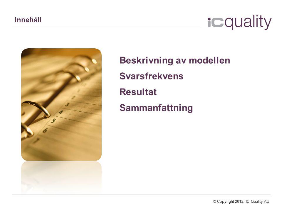 © Copyright 2013, IC Quality AB Innehåll Beskrivning av modellen Svarsfrekvens Resultat Sammanfattning
