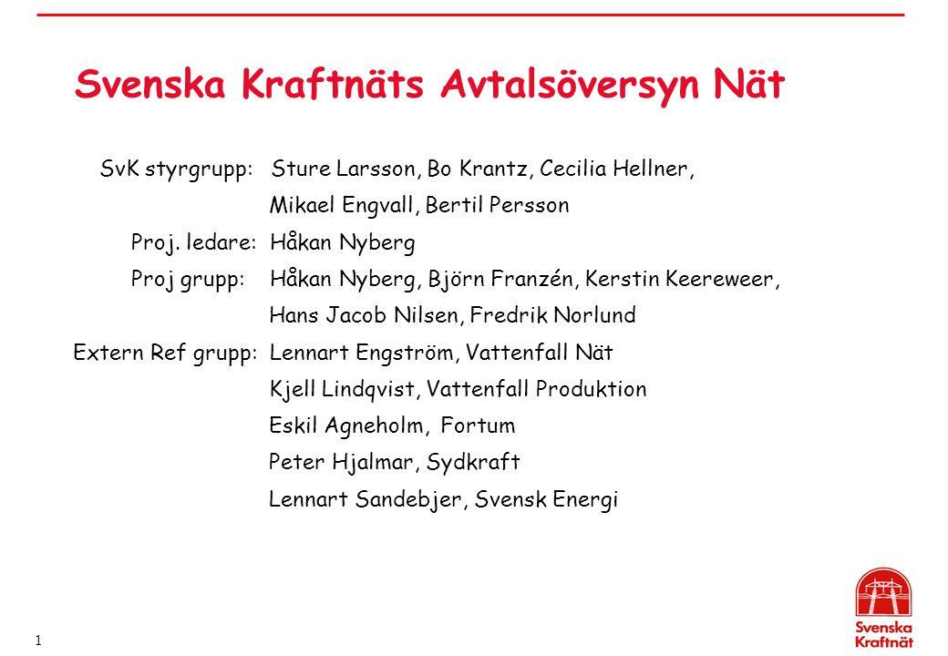 1 Svenska Kraftnäts Avtalsöversyn Nät SvK styrgrupp: Sture Larsson, Bo Krantz, Cecilia Hellner, Mikael Engvall, Bertil Persson Proj. ledare: Håkan Nyb