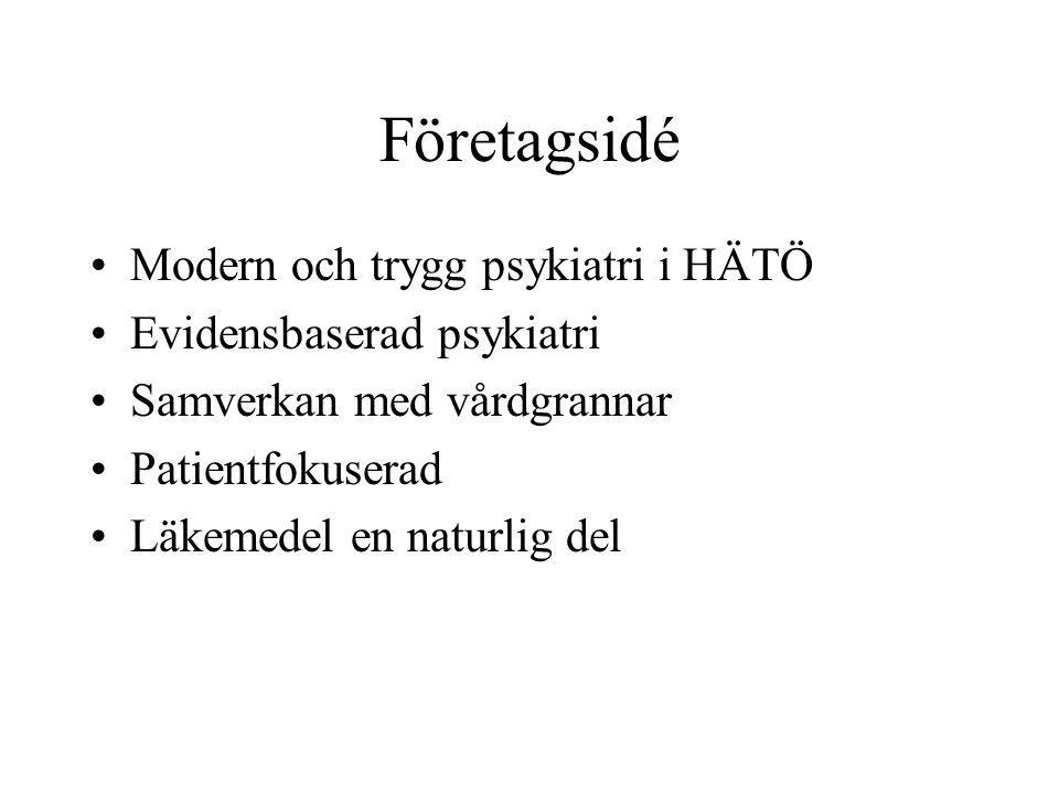 Företagsidé Modern och trygg psykiatri i HÄTÖ Evidensbaserad psykiatri Samverkan med vårdgrannar Patientfokuserad Läkemedel en naturlig del