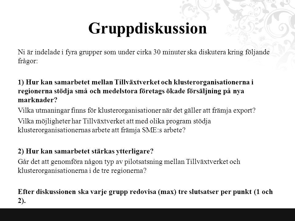 Gruppdiskussion Ni är indelade i fyra grupper som under cirka 30 minuter ska diskutera kring följande frågor: 1) Hur kan samarbetet mellan Tillväxtverket och klusterorganisationerna i regionerna stödja små och medelstora företags ökade försäljning på nya marknader.