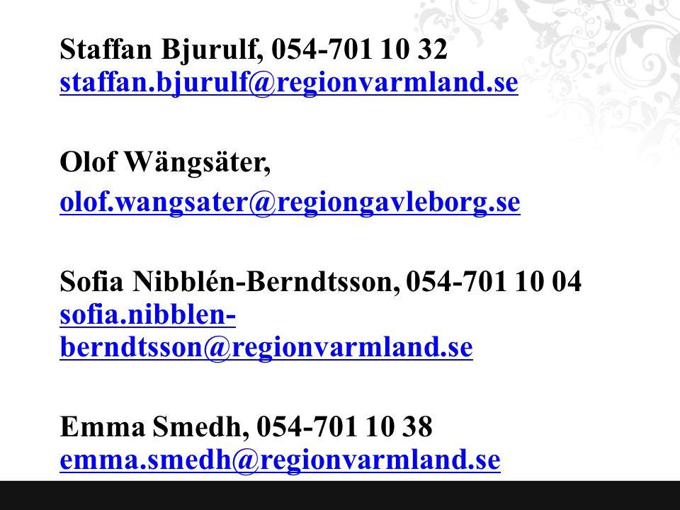 Staffan Bjurulf, 054-701 10 32 staffan.bjurulf@regionvarmland.se staffan.bjurulf@regionvarmland.se Olof Wängsäter, olof.wangsater@regiongavleborg.se Sofia Nibblén-Berndtsson, 054-701 10 04 sofia.nibblen- berndtsson@regionvarmland.se sofia.nibblen- berndtsson@regionvarmland.se Emma Smedh, 054-701 10 38 emma.smedh@regionvarmland.se emma.smedh@regionvarmland.se