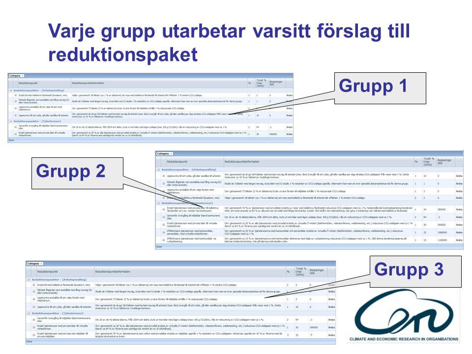 Varje grupp utarbetar varsitt förslag till reduktionspaket Grupp 1 Grupp 2 Grupp 3