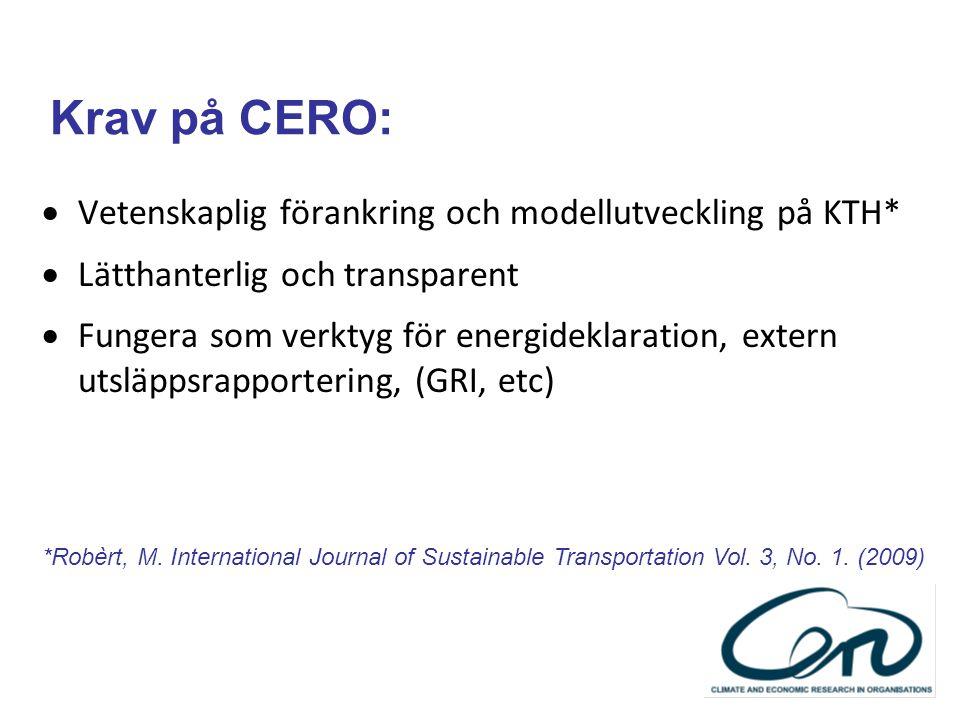 Krav på CERO:  Vetenskaplig förankring och modellutveckling på KTH*  Lätthanterlig och transparent  Fungera som verktyg för energideklaration, exte