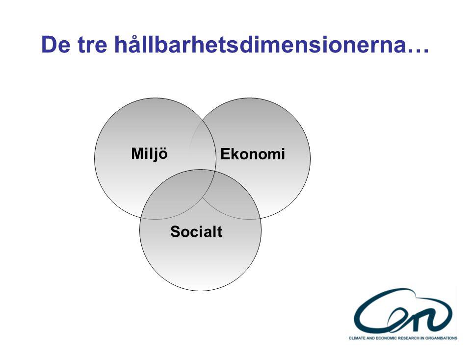 De tre hållbarhetsdimensionerna… Miljö Ekonomi Socialt