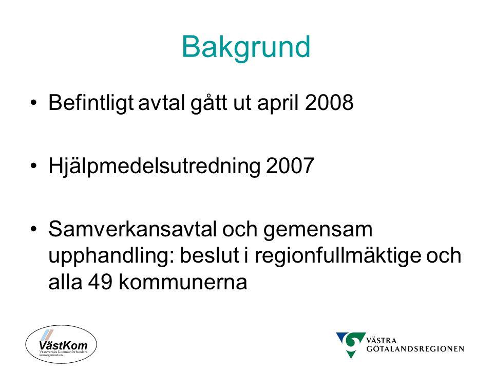 Bakgrund Befintligt avtal gått ut april 2008 Hjälpmedelsutredning 2007 Samverkansavtal och gemensam upphandling: beslut i regionfullmäktige och alla 4