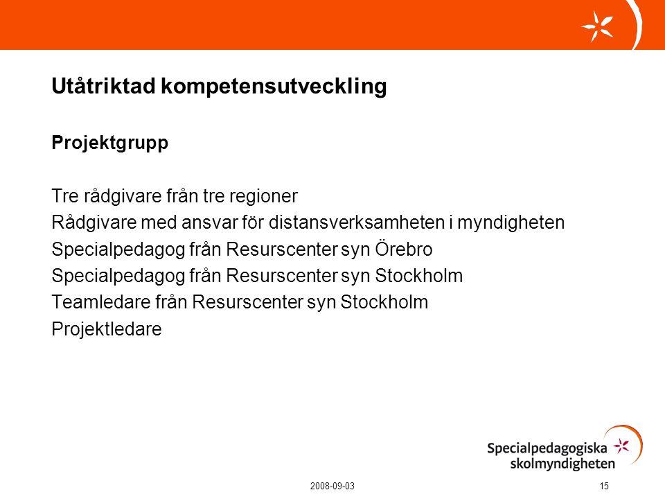 2008-09-0315 Utåtriktad kompetensutveckling Projektgrupp Tre rådgivare från tre regioner Rådgivare med ansvar för distansverksamheten i myndigheten Specialpedagog från Resurscenter syn Örebro Specialpedagog från Resurscenter syn Stockholm Teamledare från Resurscenter syn Stockholm Projektledare