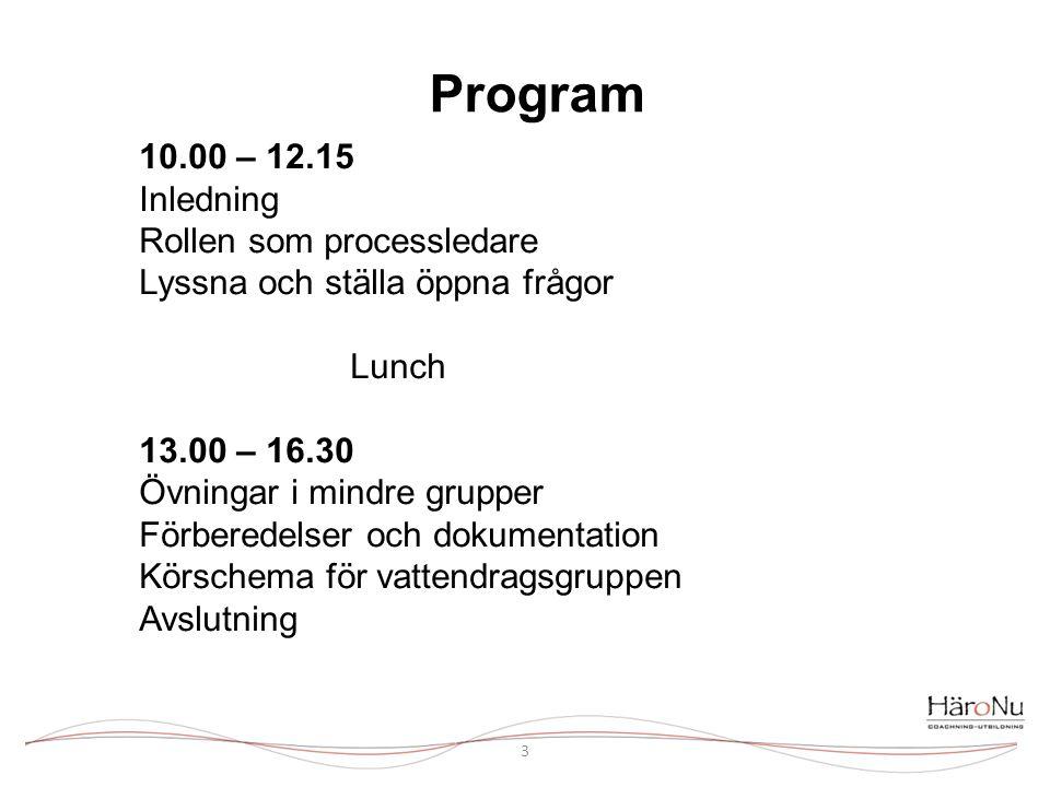 Program 3 10.00 – 12.15 Inledning Rollen som processledare Lyssna och ställa öppna frågor Lunch 13.00 – 16.30 Övningar i mindre grupper Förberedelser och dokumentation Körschema för vattendragsgruppen Avslutning