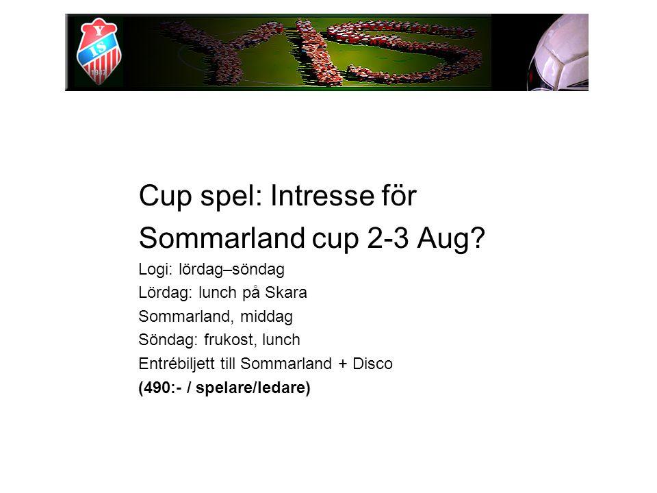 Cup spel: Intresse för Sommarland cup 2-3 Aug? Logi: lördag–söndag Lördag: lunch på Skara Sommarland, middag Söndag: frukost, lunch Entrébiljett till