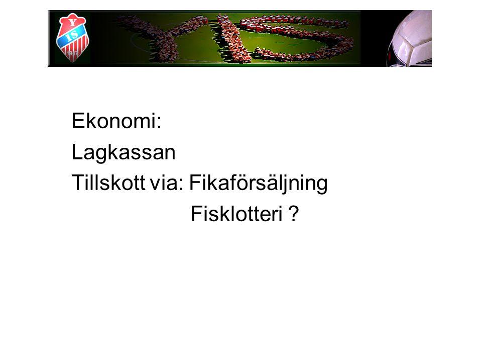 Ekonomi: Lagkassan Tillskott via: Fikaförsäljning Fisklotteri ?