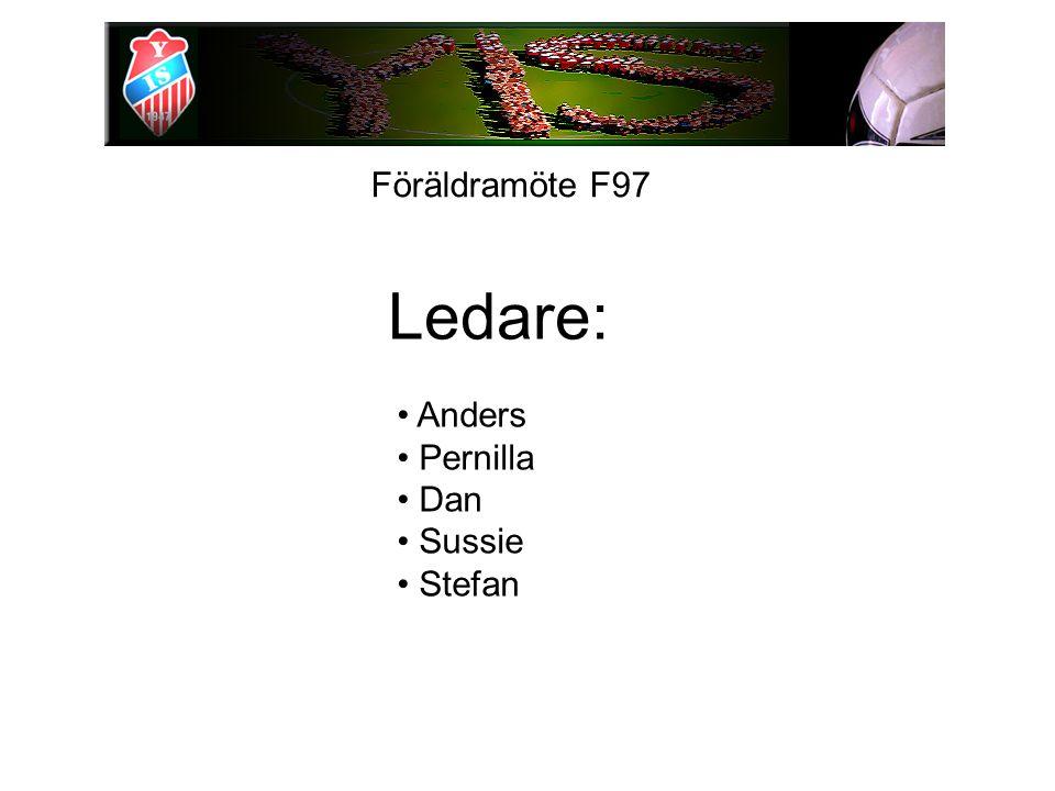 Föräldramöte F97 Ledare: Anders Pernilla Dan Sussie Stefan