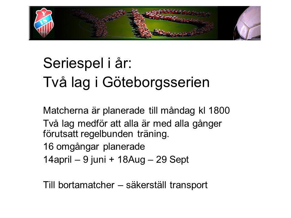 Seriespel i år: Två lag i Göteborgsserien Matcherna är planerade till måndag kl 1800 Två lag medför att alla är med alla gånger förutsatt regelbunden träning.