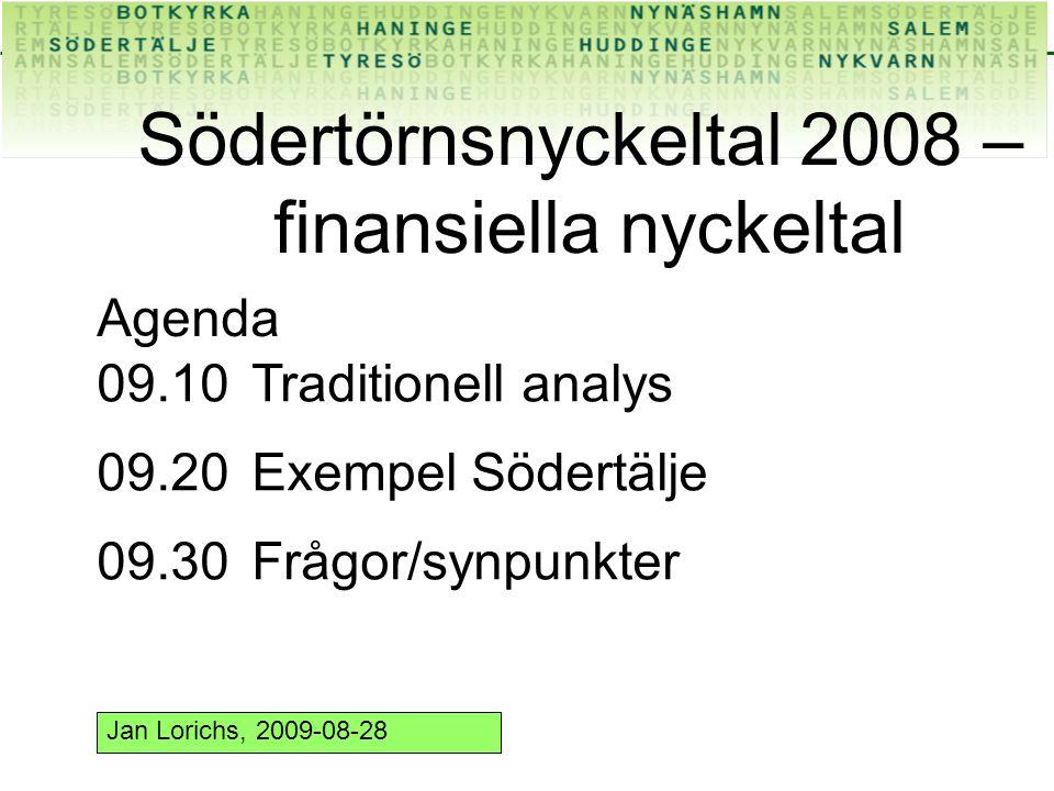 Södertörnsnyckeltal 2008 – finansiella nyckeltal Agenda 09.10Traditionell analys 09.20Exempel Södertälje 09.30Frågor/synpunkter Jan Lorichs, 2009-08-28