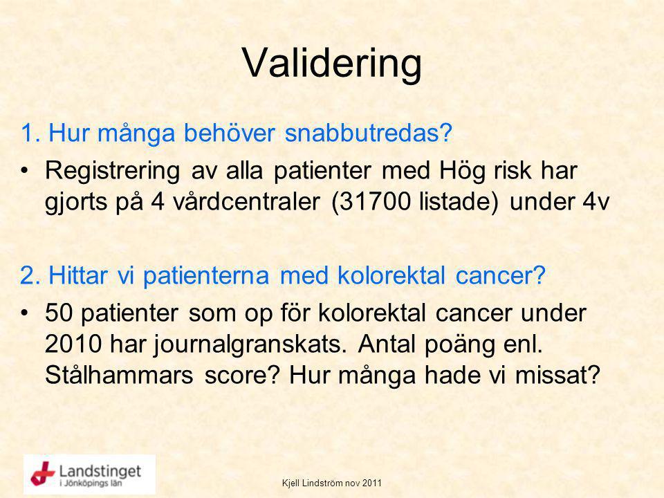 Kjell Lindström nov 2011 Validering 1. Hur många behöver snabbutredas? Registrering av alla patienter med Hög risk har gjorts på 4 vårdcentraler (3170