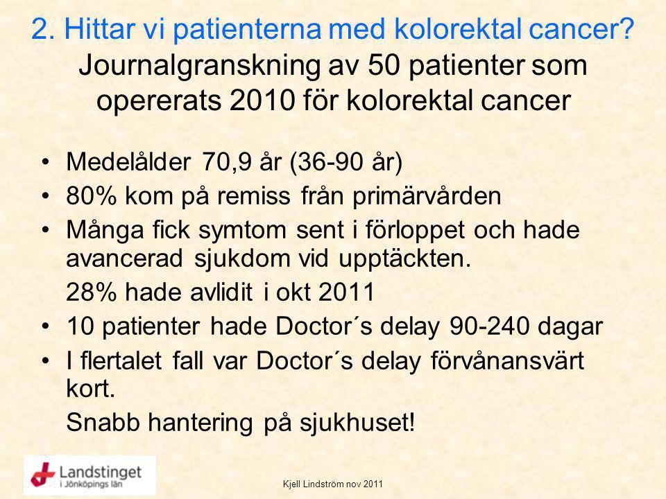 Kjell Lindström nov 2011 2. Hittar vi patienterna med kolorektal cancer? Journalgranskning av 50 patienter som opererats 2010 för kolorektal cancer Me