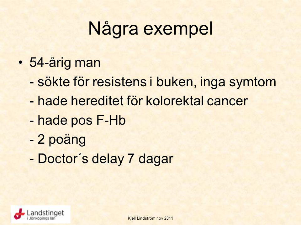 Kjell Lindström nov 2011 Några exempel 54-årig man - sökte för resistens i buken, inga symtom - hade hereditet för kolorektal cancer - hade pos F-Hb -
