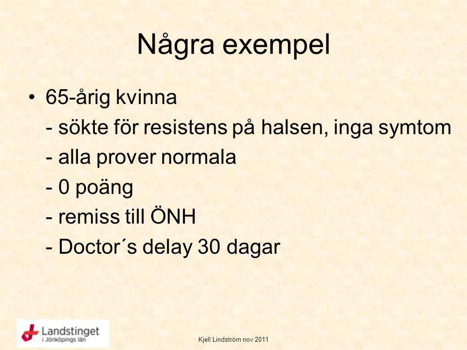 Kjell Lindström nov 2011 Några exempel 65-årig kvinna - sökte för resistens på halsen, inga symtom - alla prover normala - 0 poäng - remiss till ÖNH -
