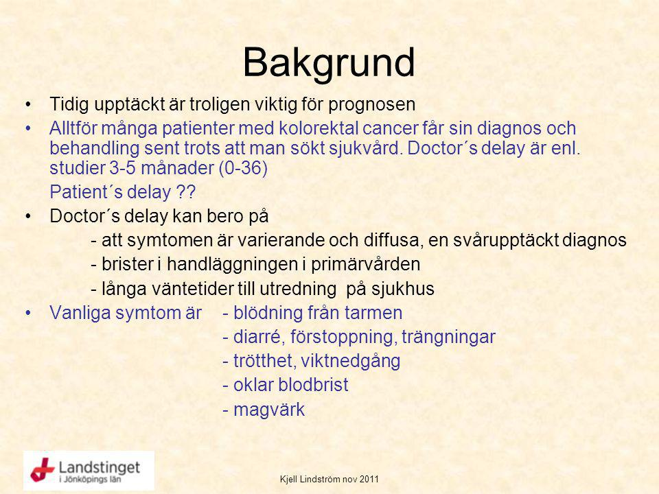 Kjell Lindström nov 2011 Bakgrund Tidig upptäckt är troligen viktig för prognosen Alltför många patienter med kolorektal cancer får sin diagnos och be